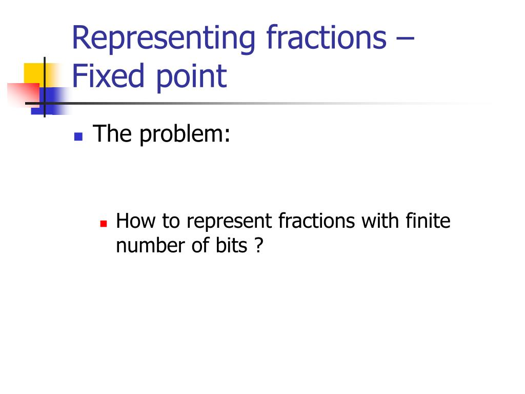 representing fractions fixed point l.