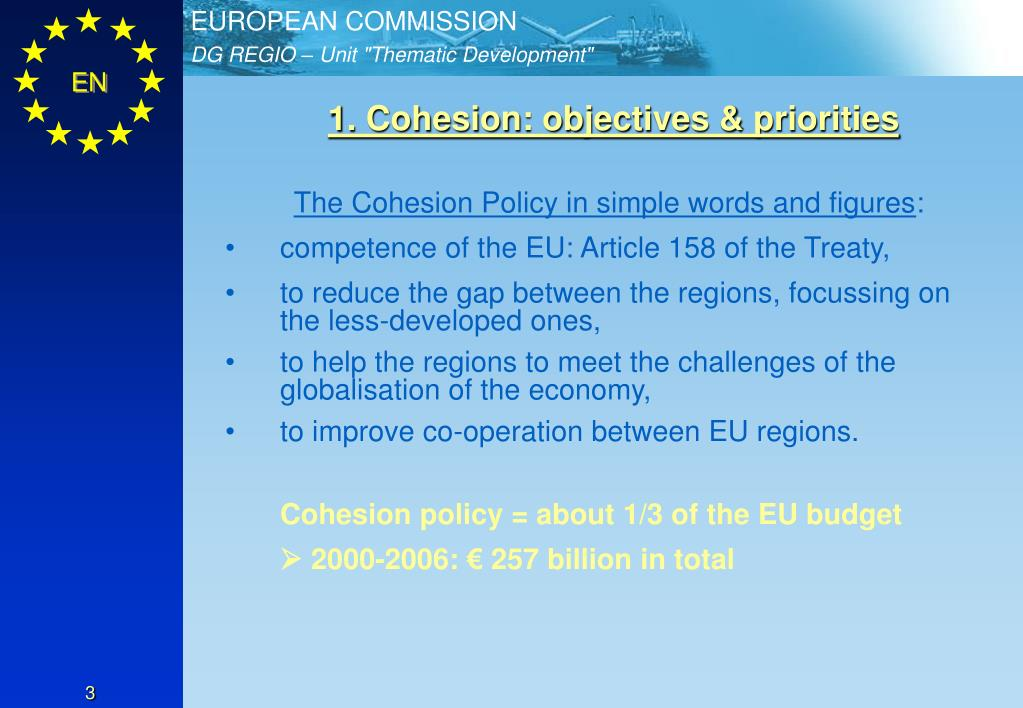 1. Cohesion: objectives & priorities