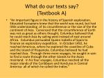 what do our texts say textbook a