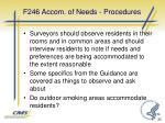 f246 accom of needs procedures