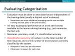 evaluating categorization