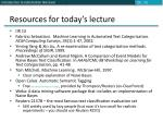 resources for today s lecture