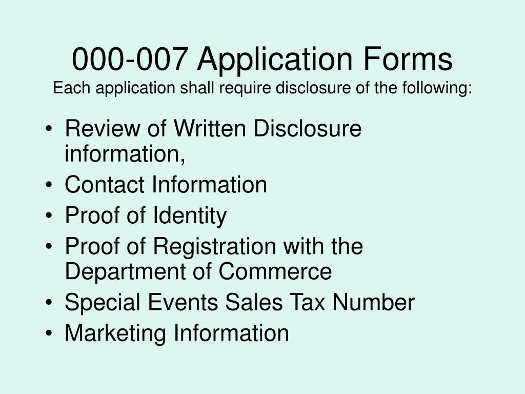 000-007 Application Forms