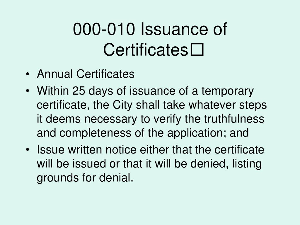000-010 Issuance of Certificates