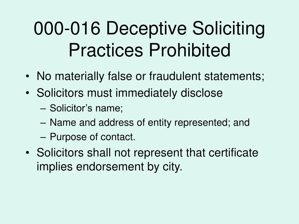 000-016 Deceptive Soliciting Practices Prohibited