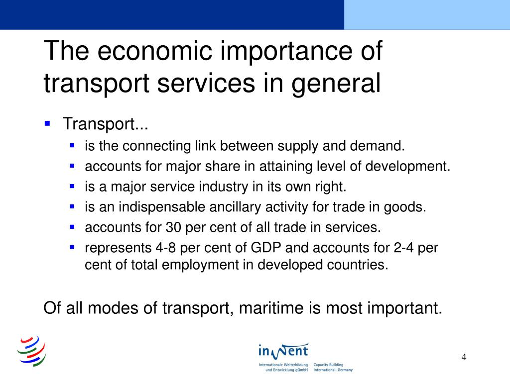 The economic importance of transport services in general