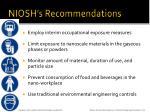 niosh s recommendations