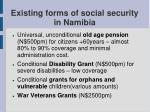 existing forms of social security in namibia