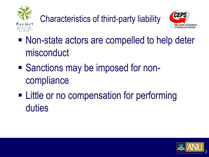 Characteristics of third party liability