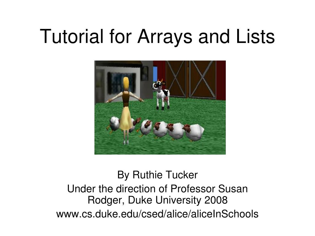 tutorial for arrays and lists l.