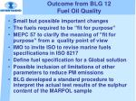 outcome from blg 12 fuel oil quality