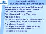 outcome from blg 12 nox emissions pre 2000 engines