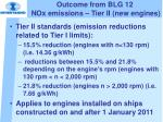 outcome from blg 12 nox emissions tier ii new engines