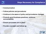 steps necessary for compliance