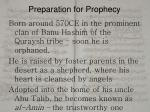preparation for prophecy