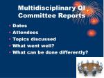 multidisciplinary qi committee reports