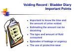 voiding record bladder diary important points