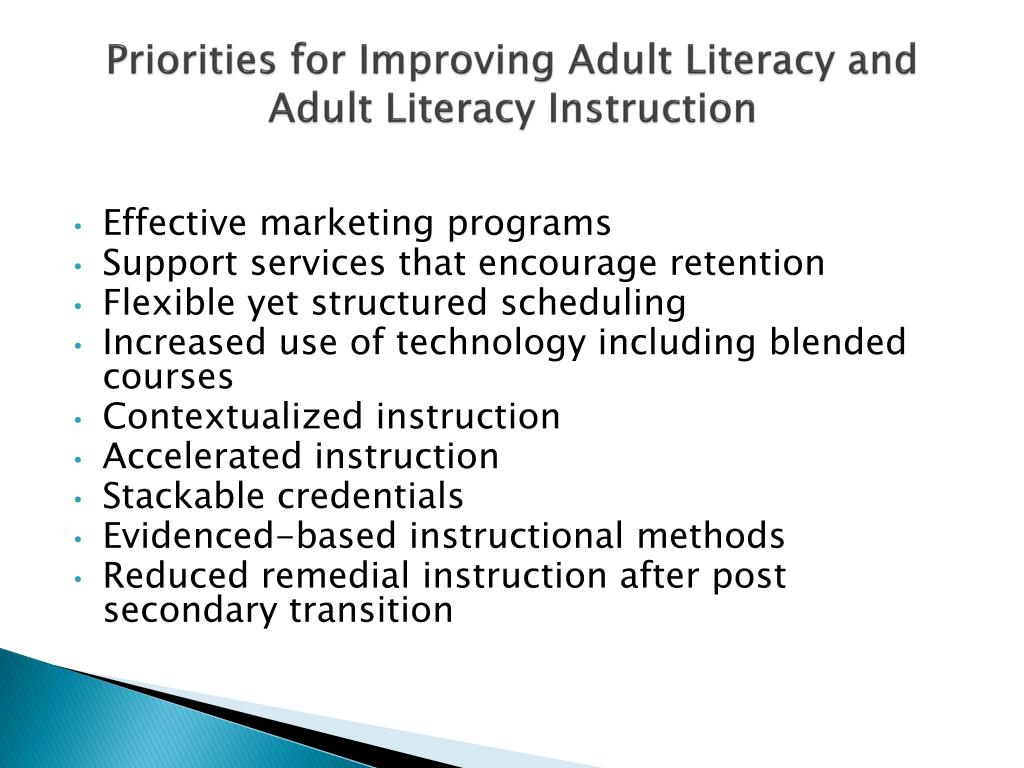 priorities for improving adult literacy and adult literacy instruction l.