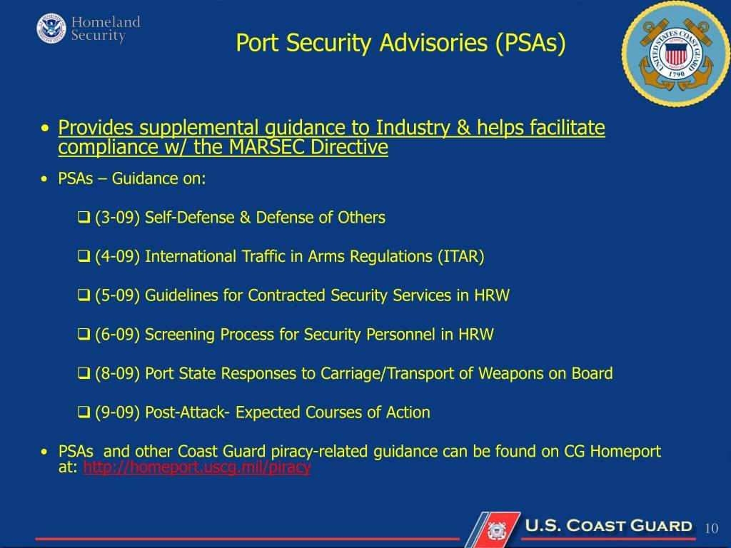 Port Security Advisories (PSAs)