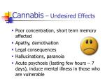 cannabis undesired effects