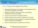 in term 1 principals or their delegates will use par to