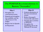 the pemfar recommendations to restore normality