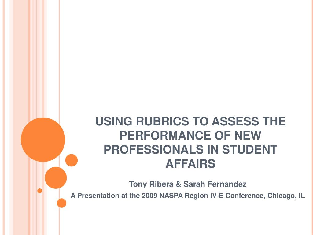 using rubrics to assess the performance of new professionals in student affairs l.