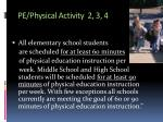 pe physical activity 2 3 4