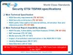 security etsi tispan specifications