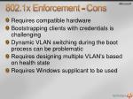 802 1x enforcement cons
