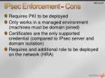 ipsec enforcement cons