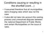 conditions causing or resulting in the shortfall cont