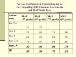 pearson coefficients of correlations r for corresponding 2009 common assessments and map math tests