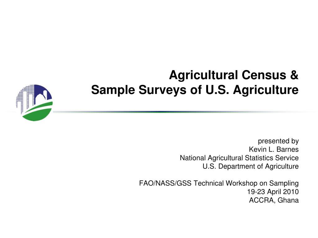 agricultural census sample surveys of u s agriculture l.