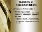 suitability of recommendations6