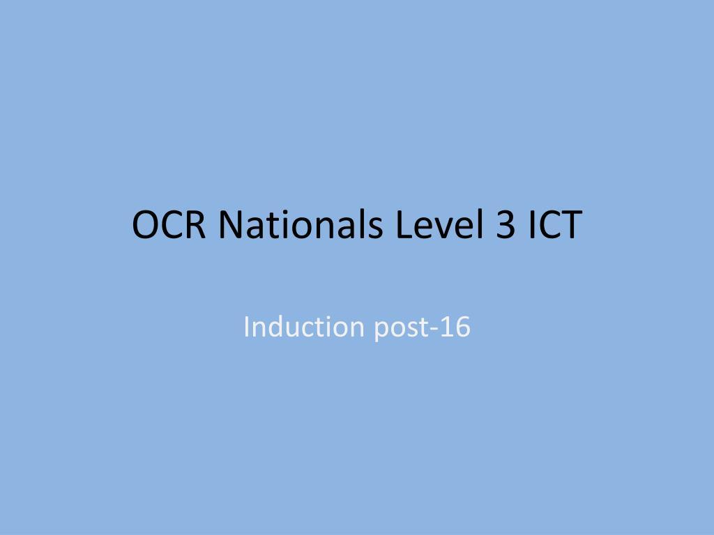 ocr nationals level 3 ict l.
