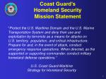 coast guard s homeland security mission statement