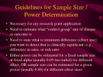 guidelines for sample size power determination