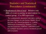 statistics and statistical procedures continued