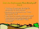 how are performance plans developed step 6