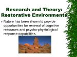 research and theory restorative environments