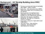 background uk warship building since ww2