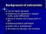 background of extremists