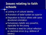 issues relating to faith schools