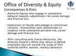 office of diversity equity consequences risks
