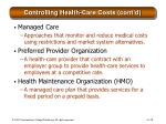controlling health care costs cont d