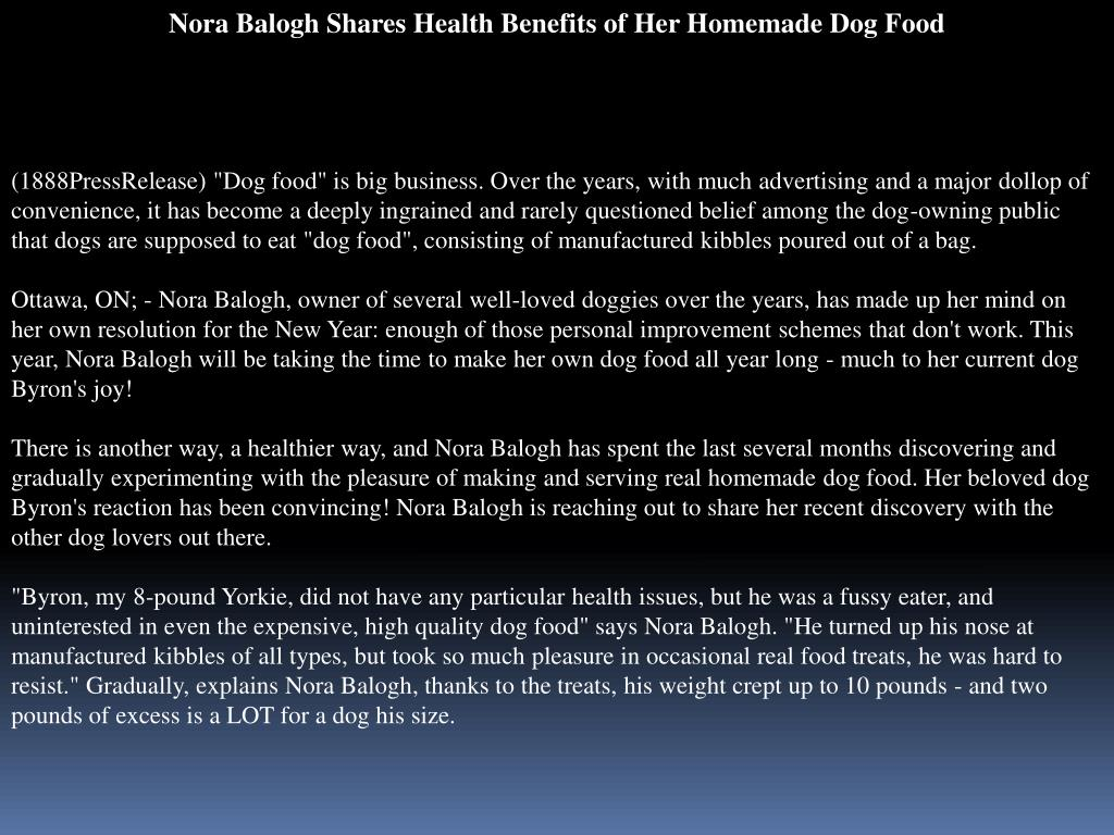 Nora Balogh Shares Health Benefits of Her Homemade Dog Food