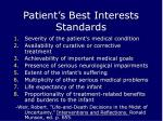 patient s best interests standards