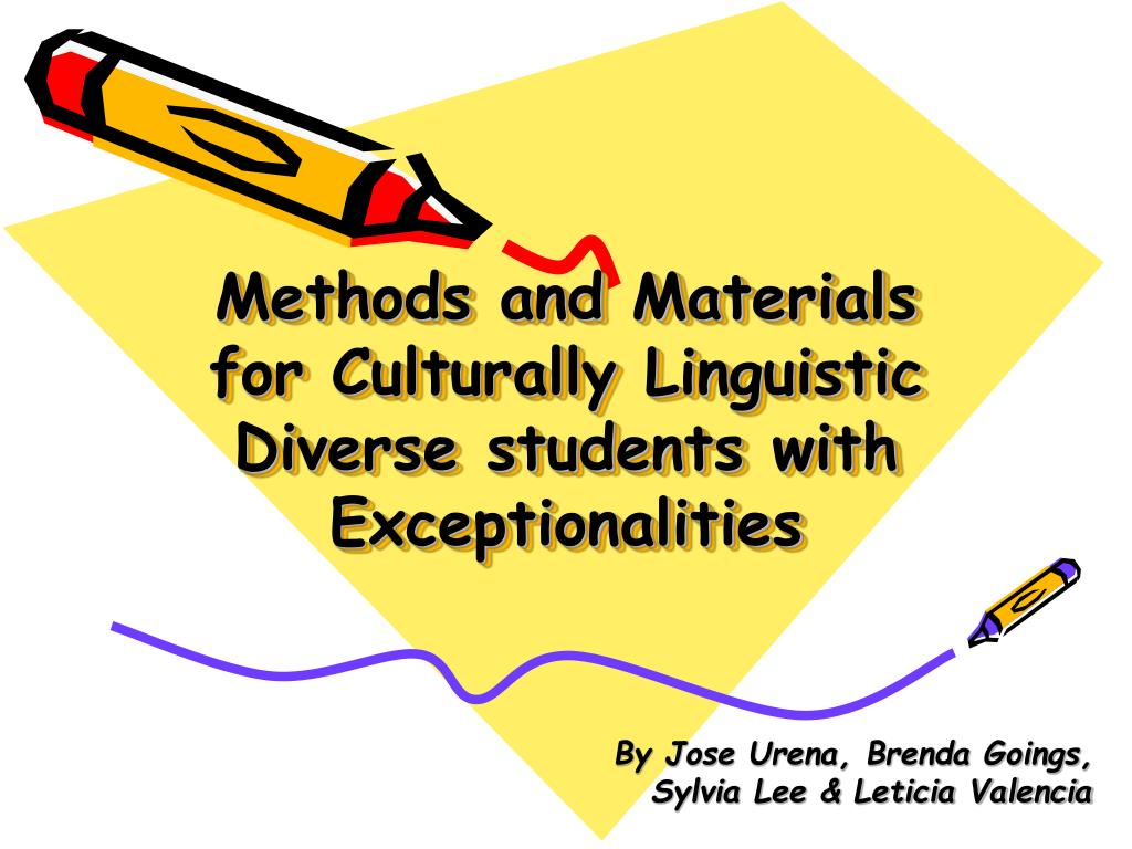 methods and materials for culturally linguistic diverse students with exceptionalities l.