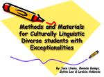 methods and materials for culturally linguistic diverse students with exceptionalities